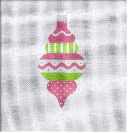 click here to view larger image of Vintage Flair Zig Zag Band Ornament - Pink/Green (hand painted canvases)