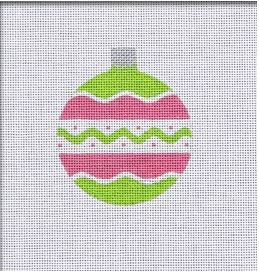 click here to view larger image of Vintage Flair Round Ornament - Pink/Green (hand painted canvases)