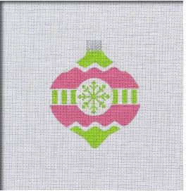 click here to view larger image of Vintage Flair Snowflake Ornament - Pink/Green (hand painted canvases)