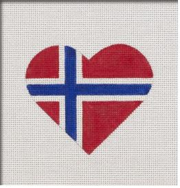 click here to view larger image of Norwegian Flag Heart (hand painted canvases)