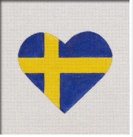 click here to view larger image of Swedish Flag Heart (hand painted canvases)