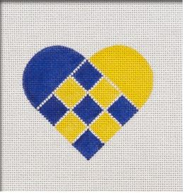 click here to view larger image of Nordic Criss-Cross Blue/Yellow Heart (hand painted canvases)