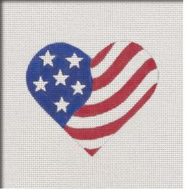 American Flag Heart hand painted canvases