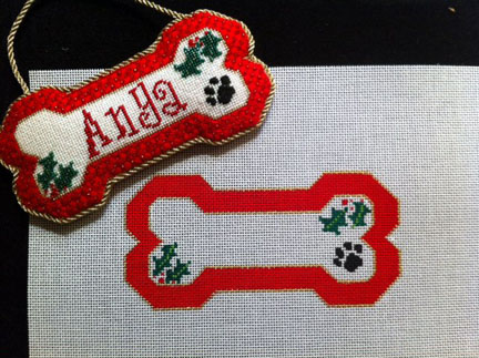 click here to view larger image of Red Dog Bone Ornament - Stitch Guide (books)