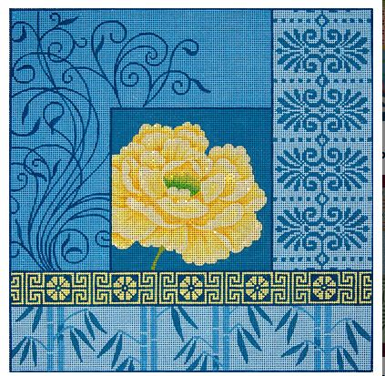 click here to view larger image of Yellow Peony with Bamboo on Blue I (hand painted canvases)