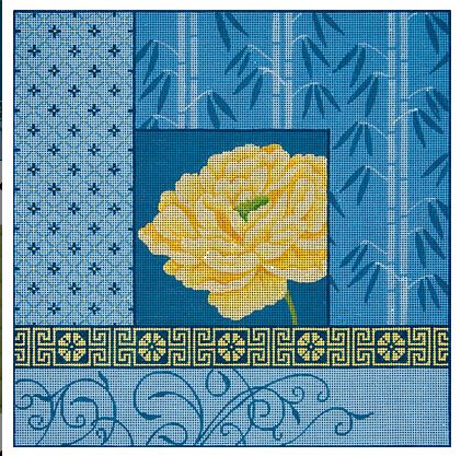 click here to view larger image of Yellow Peony with Bamboo on Blue II (hand painted canvases)