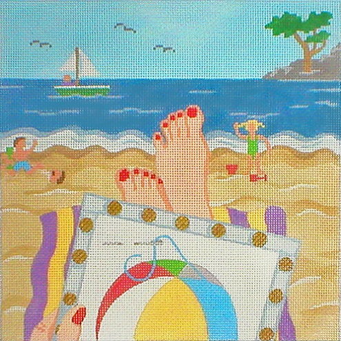 click here to view larger image of Stitching On The Go! - Stitching By The Seaside (hand painted canvases)