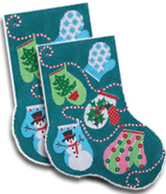 click here to view larger image of Christmas Mittens Midi Sock (hand painted canvases)