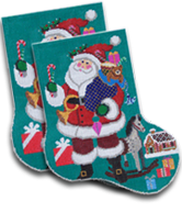 click here to view larger image of Merry Santa Midi Sock (hand painted canvases)