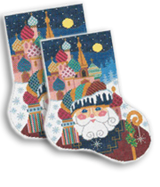 click here to view larger image of Russian Santa Sock (hand painted canvases)