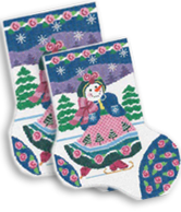 click here to view larger image of Skating Snowgirl Midi Sock (hand painted canvases)