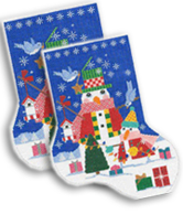 click here to view larger image of Birdie The Snowman Sock (hand painted canvases)