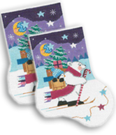 click here to view larger image of Cross Country Polar Bear Midi Sock (hand painted canvases)