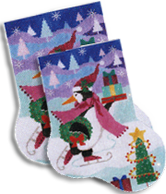 click here to view larger image of Skating Penguin With Gifts Sock (hand painted canvases)