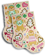 click here to view larger image of Christmas Cookie Midi Sock (hand painted canvases)
