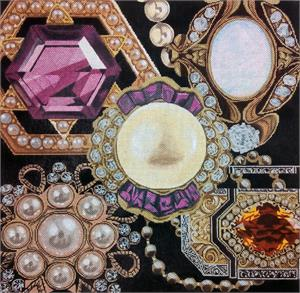 click here to view larger image of Jewel Bling Collage (hand painted canvases)