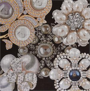 click here to view larger image of Pearl Bling Collage (hand painted canvases)