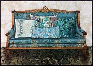 click here to view larger image of Teal Couch (hand painted canvases)