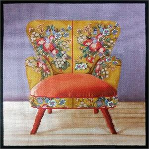 click here to view larger image of Boho Orange Chair (hand painted canvases)