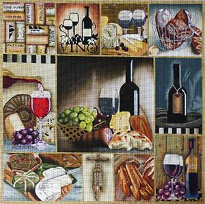 click here to view larger image of Wine And Cheese Collage (hand painted canvases)