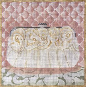 click here to view larger image of White Rose Evening Bag (hand painted canvases)