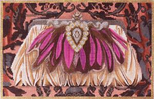 click here to view larger image of Pink Feather Evening Bag (hand painted canvases)