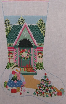 click here to view larger image of Christmas House Stocking (hand painted canvases)