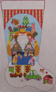 click here to view larger image of Cowboy Santa Stocking - Girl (hand painted canvases)