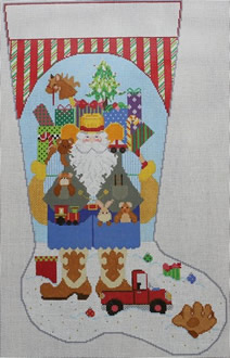 click here to view larger image of Cowboy Santa Stocking - Boy (hand painted canvases)