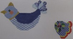 click here to view larger image of Blue Bird With Holly (hand painted canvases)