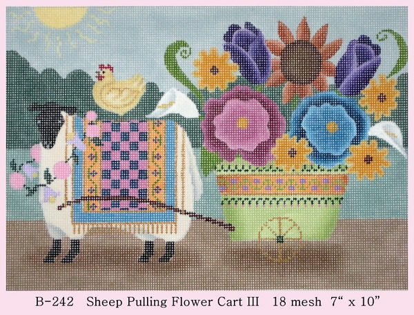 click here to view larger image of Sheep Pulling Flower Cart III (hand painted canvases)