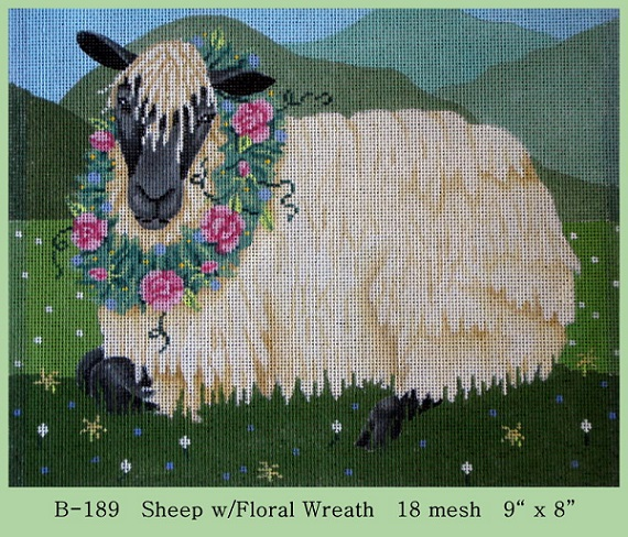 click here to view larger image of Sheep With Floral Wreath (hand painted canvases)