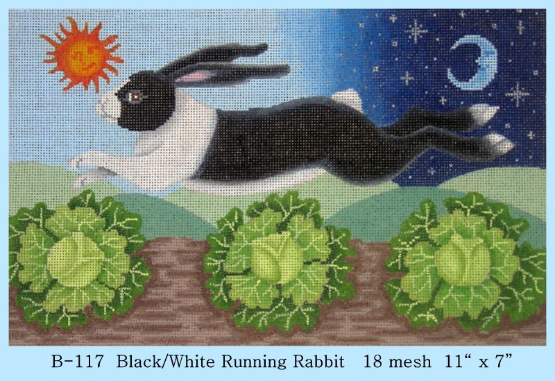 click here to view larger image of Black and White Running Rabbit (hand painted canvases)