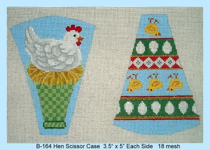 click here to view larger image of Hen Scissor Case (hand painted canvases)