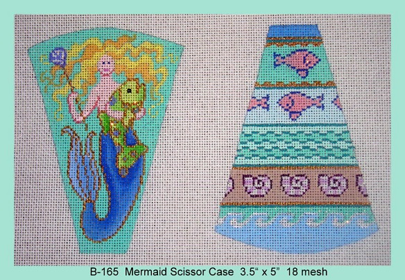 click here to view larger image of Mermaid Scissor Case (hand painted canvases)