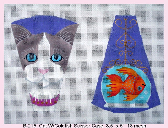 click here to view larger image of Cat With Goldfish Scissor Case (hand painted canvases)