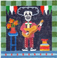 click here to view larger image of Day Of The Dead - Musician (hand painted canvases)