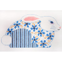 click here to view larger image of Blue and White Hopper With Flowers (hand painted canvases)