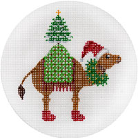 click here to view larger image of Camel With Christmas Tree Ornament (hand painted canvases)