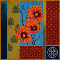 click here to view larger image of Orange Poppies and Palm Leaves (hand painted canvases)