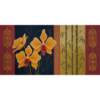 click here to view larger image of Orange Phalaenopsis and Bamboo (hand painted canvases)