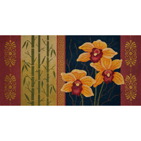 click here to view larger image of Orange Orchid and Bamboo (hand painted canvases)