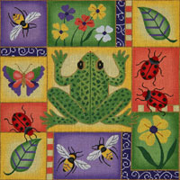 click here to view larger image of Frog and Bugs Patchwork (hand painted canvases)