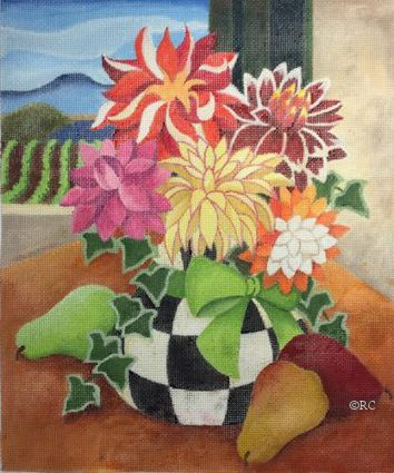 click here to view larger image of Dahlias and Pears (hand painted canvases)