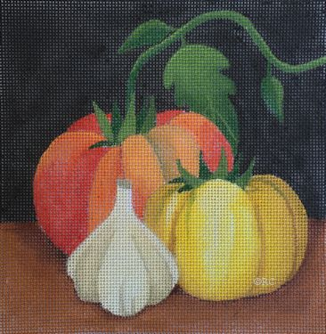 click here to view larger image of Heirloom Tomatoes and Garlic (hand painted canvases)