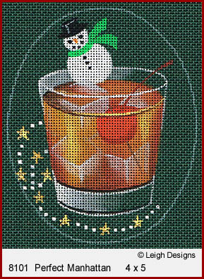 click here to view larger image of Christmas Cocktails - Perfect Manhattan (hand painted canvases)