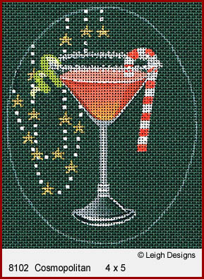 click here to view larger image of Christmas Cocktails - Cosmopolitan (hand painted canvases)