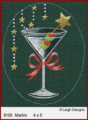 click here to view larger image of Christmas Cocktails - Martini (hand painted canvases)