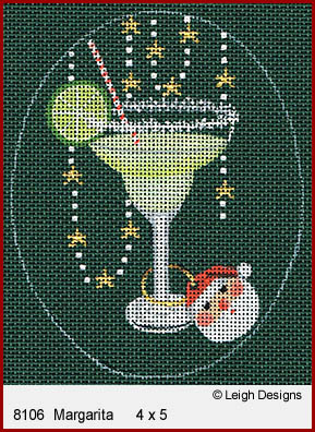 click here to view larger image of Christmas Cocktails - Margarita (hand painted canvases)