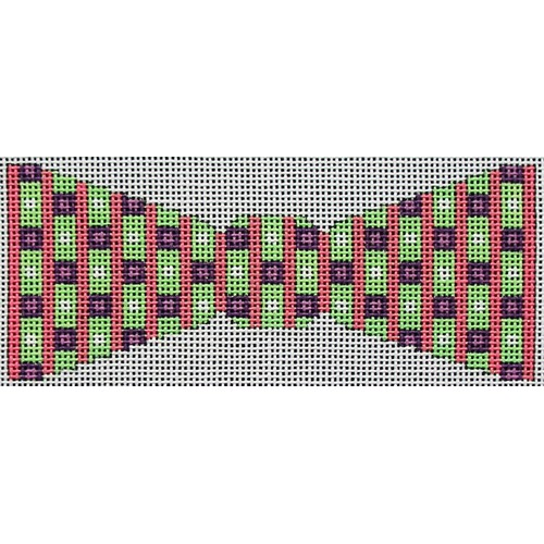 click here to view larger image of Squares and Stripes Bowtie (hand painted canvases)